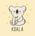 cute koala cartoon hand drawn style vector image