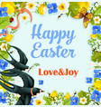 easter flower wreath poster with swallows vector image vector image