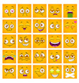 emoji face funny square cartoon yellow faces set vector image