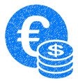 euro and dollar coins grunge icon vector image vector image