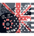 fashion grunge music background with british flag vector image