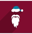 Flat Design Santa Claus Face Icon Greeting Card vector image