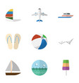 flat icon beach set of boat ocean aircraft and vector image vector image