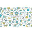 flat line design travel banner vector image