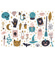 halloween witchcraft elements magical doodle vector image