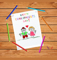happy grandparents day kids hand drawn greeting vector image vector image