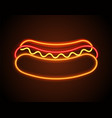 hot dog neon signboard poster vector image vector image