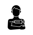 injection in arm black glyph icon vector image vector image