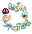 insects and garden animals kawaii characters vector image