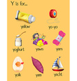 Many words begin with letter Y vector image vector image