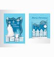 merry christmas postcard with paper cut pine tree vector image vector image