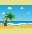 ocean scene with coconut tree on beach vector image