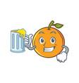 orange fruit cartoon character with juice vector image