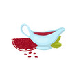 pomegranate sauce in ceramic sauceboat vector image vector image