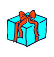 present and red bow hand drawn vector image