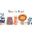 reading animals wild animal with books lion fox vector image