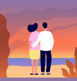 romantic couple date hugging on sunset tourists vector image
