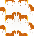 Seamless texture red horses stallions vector image