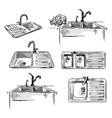 set kitchen sinks vector image vector image