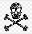 skull with bones scratched worn skull pirates vector image