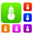 snowman set collection vector image vector image
