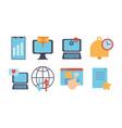 technology data digital multimedia icons set vector image vector image