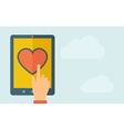 Touch screen tablet with the heart icon vector image vector image