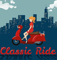 Woman riding on red motorcycle vector image