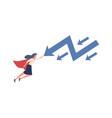 woman stopping falling arrow superhero vector image