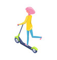 women driving scooter person on eco transport vector image vector image