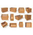 wooden crate box and wood containers vector image vector image