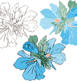 Blue mallow color and stencil version vector image