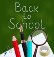 Blackboard with colorful school supplies vector image