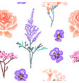 botanical flower seamless pattern flowers vector image