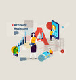alphabet letter a with account assistant vector image vector image