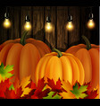 autumn leaves and pumpkins on wooden texture vector image vector image