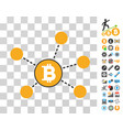 bitcoin net elements icon with bonus vector image vector image