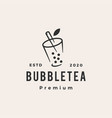 bubble tea hipster vintage logo icon vector image