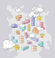 building blocks game and clouds vector image