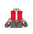 business man holding red gift box isolated on vector image