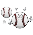 Cartoon baseball ball with thumb up vector image