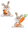 Cartoon Bunny with Big Carrot and Painted Egg vector image vector image