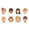 cartoon children avatars joyful preschool smiling vector image