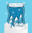 christmas in mountains town and snow hill vector image vector image