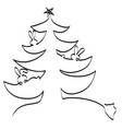 christmas tree with hares and a wolf vector image vector image