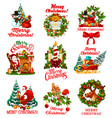 christmas wishes greeting icons vector image