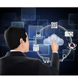 Cloud computing concept finger touching the cloud vector image vector image
