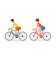 couple riding bicycles isolated on white vector image vector image
