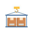 crane hook lifting boxes cartons vector image vector image