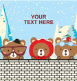 cute bear in the christmas day vector image vector image